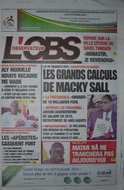 A la Une du Journal L'Observateur du jeudi 23 octobre 2014