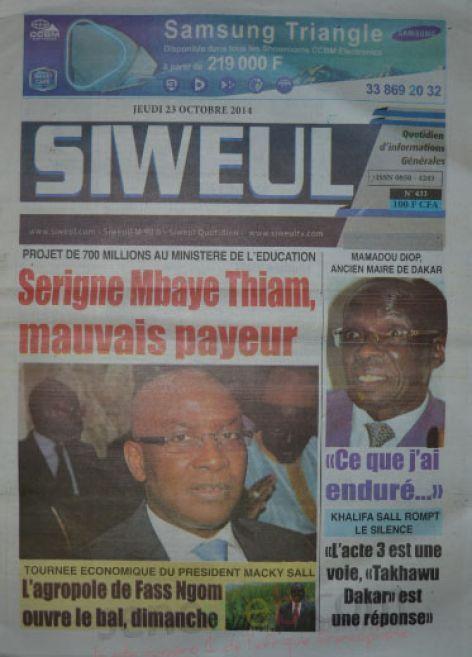 A la Une du Journal Siweul du jeudi 23 octobre 2014