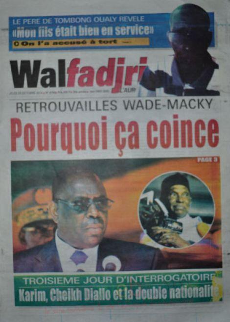 A la Une du Journal Walfadjri du jeudi 23 octobre 2014