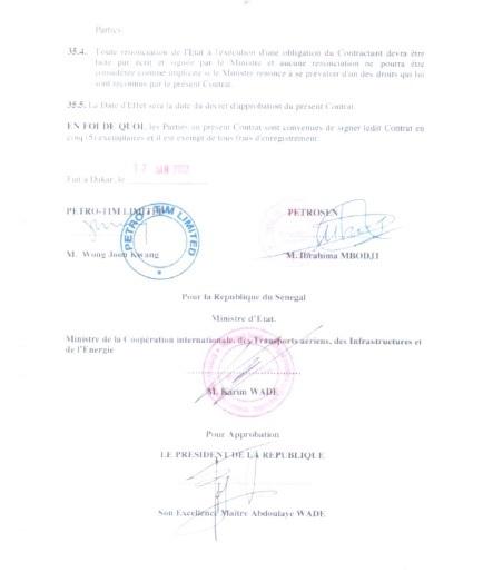Exclusif - Contrat Petro-Tim-Etat du Sénégal : Le document qui mouille Wade et son fils Karim