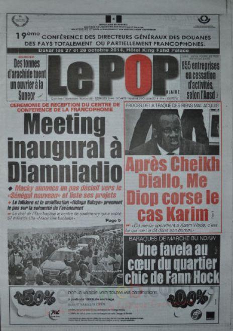 A la Une du Journal Le Populaire du vendredi 24 octobre 2014