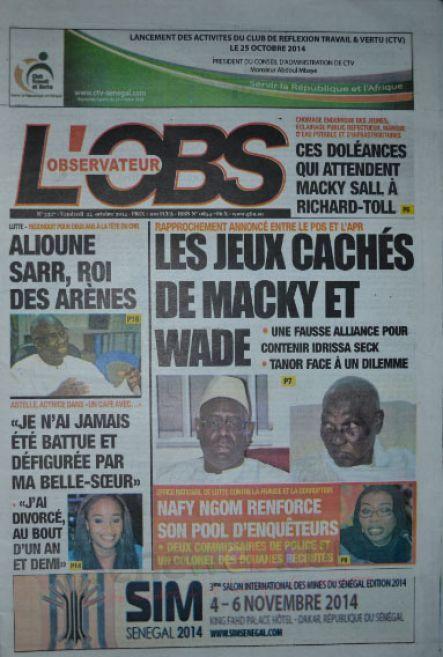 A la Une du Journal L'Observateur du vendredi 24 octobre 2014