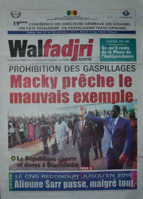 A la Une du Journal Walfadjri du vendredi 24 octobre 2014