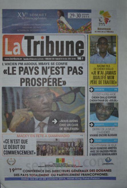 A la Une du Journal La Tribune du vendredi 24 octobre 2014