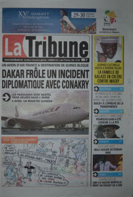 A la Une du Journal La Tribune du lundi 27 octobre 2014