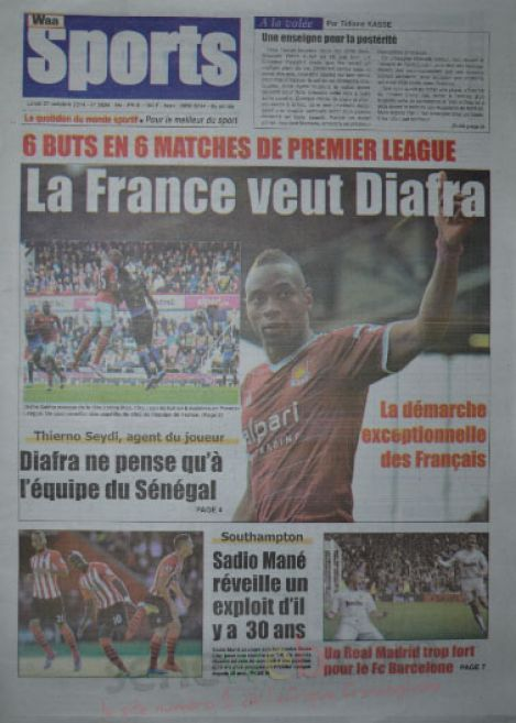 A la Une du Journal Waa Sports du lundi 27 octobre 2014