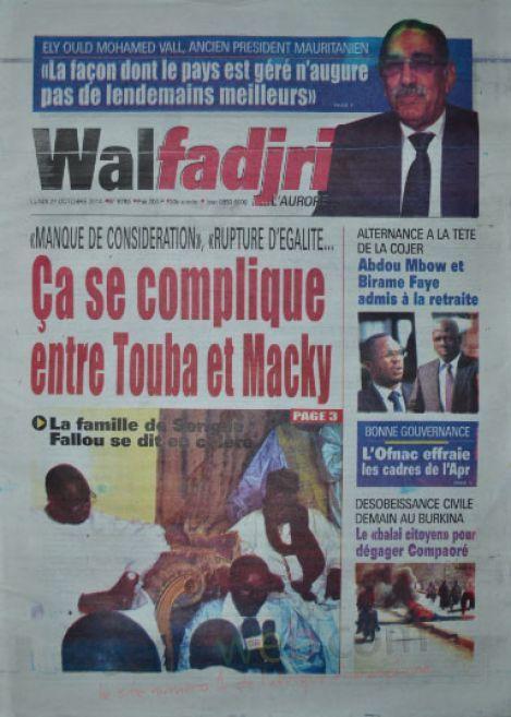 A la Une du Journal Walfadjri du lundi 27 octobre 2014