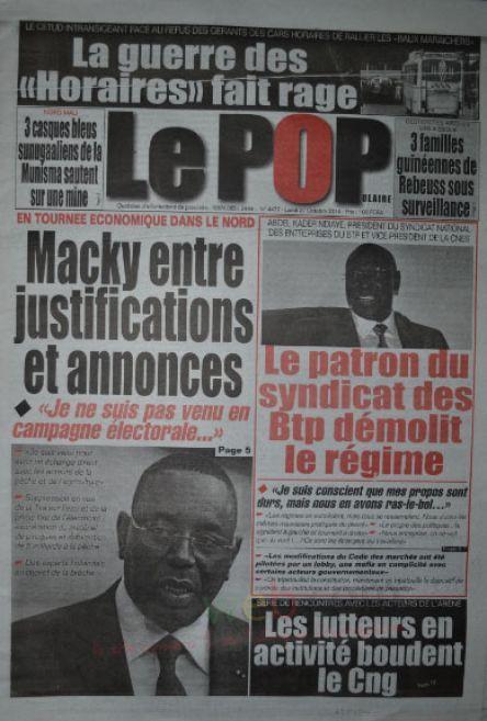 A la Une du Journal Le Populaire du lundi 27 octobre 2014