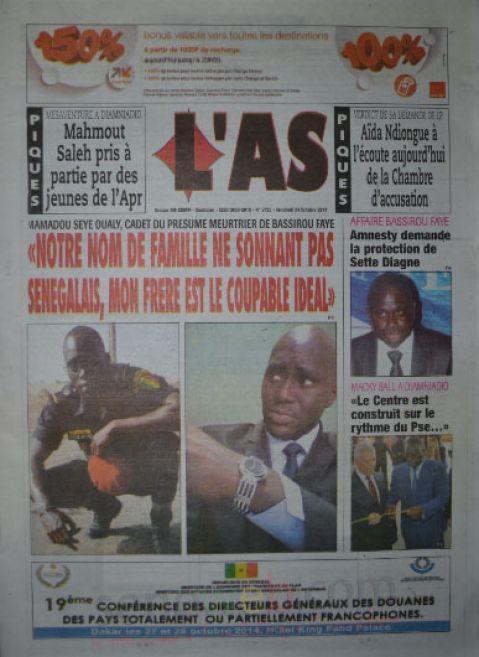 A la Une du Journal L'As du lundi 27 octobre 2014