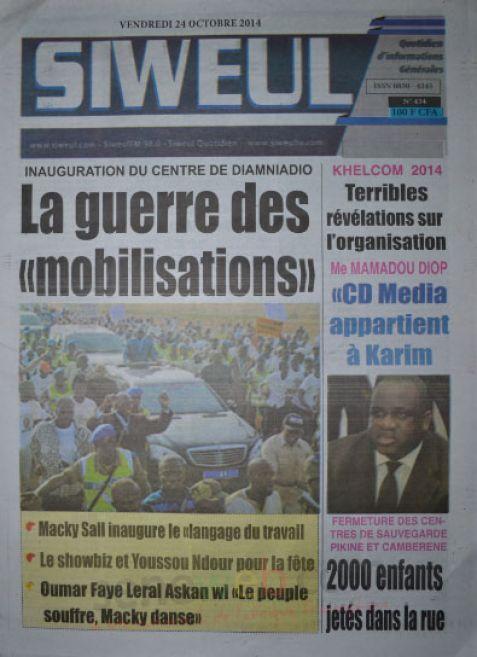 A la Une du Journal Siweul du lundi 27 octobre 2014