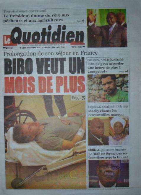 A la Une du Journal Le Quotidien du lundi 27 octobre 2014