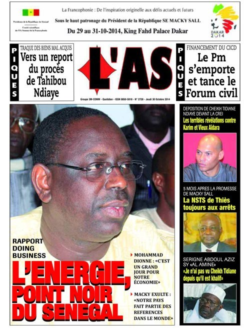 A la Une du Journal L'As du jeudi 30 octobre 2014