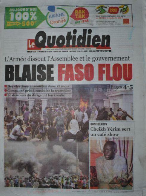 A la Une du Journal Le Quotidien du vendredi 31 octobre 2014