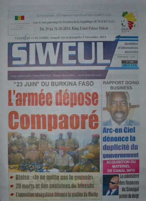A la Une du Journal Siweul du vendredi 31 octobre 2014