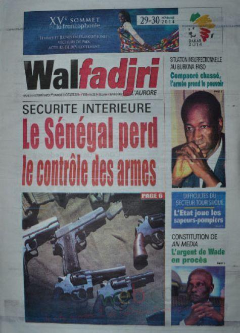 A la Une du Journal Walfadjri du vendredi 31 octobre 2014