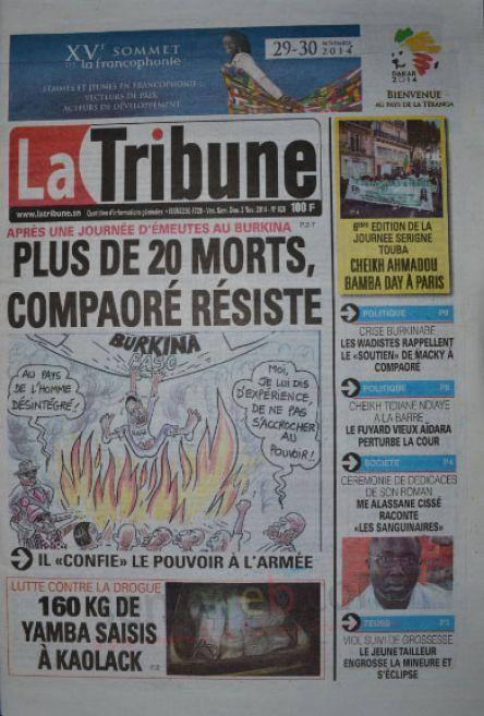 A la Une du Journal La Tribune du vendredi 31 octobre 2014