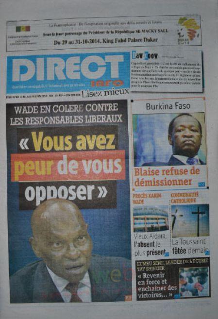 A la Une du Journal Direct Info du vendredi 31 octobre 2014