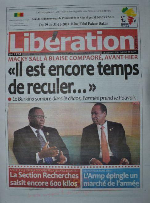 A la Une du Journal Libération du vendredi 31 octobre 2014