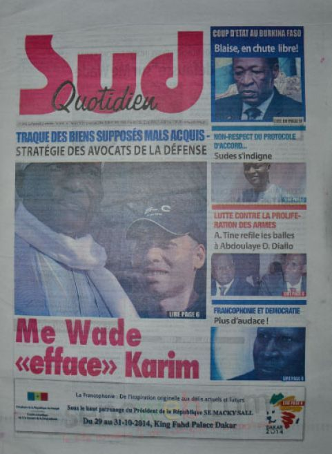 A la Une du Journal Sud Quotidien du vendredi 31 octobre 2014