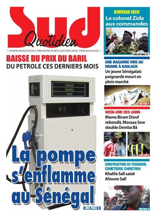 A la Une du Journal Sud Quotidien du lundi 03 novembre 2014