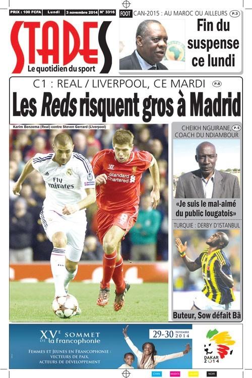 A la Une du Journal Stades du lundi 03 novembre 2014