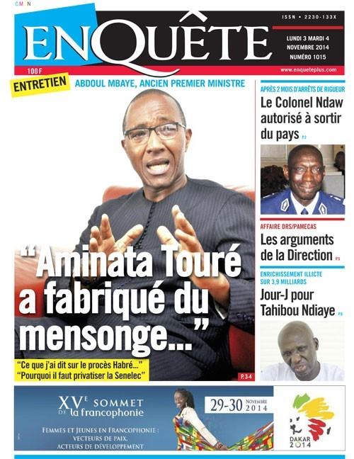A la Une du Journal EnQuête du lundi 03 novembre 2014