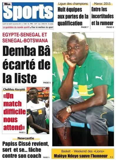 A la Une du Journal Waa Sports du lundi 03 novembre 2014