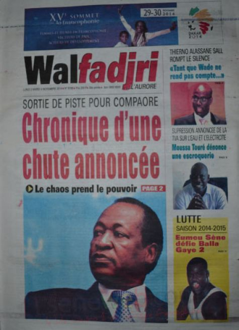 A la Une du Journal Walfadjri du lundi 03 novembre 2014