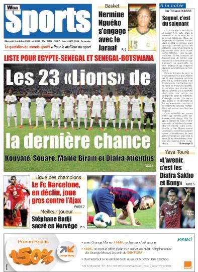 A la Une du Journal Waa Sports du mercredi 05 novembre 2014
