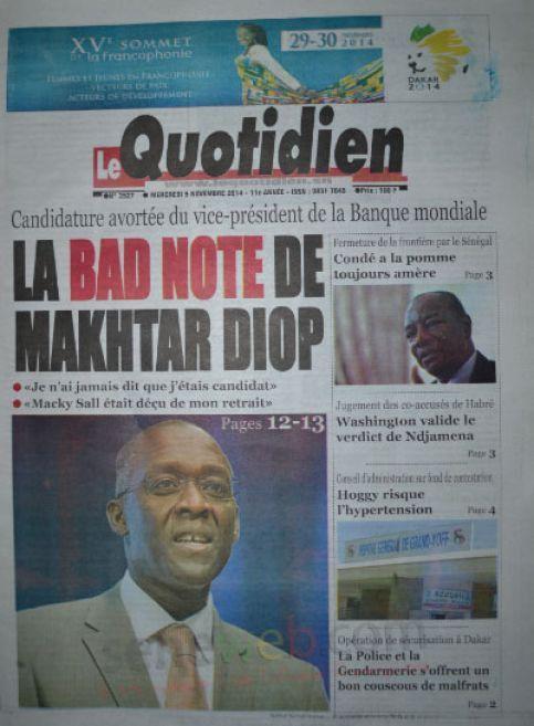 A la Une du Journal Le Quotidien du mercredi 05 novembre 2014