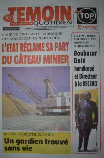 A la Une du Journal Le Témoin du mercredi 05 novembre 2014