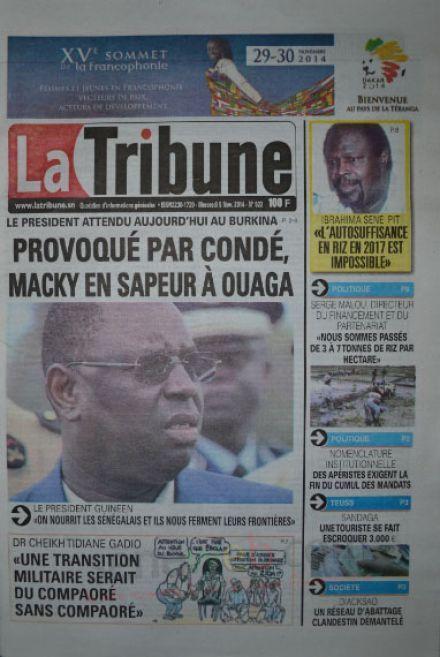 A la Une du Journal La Tribune du mercredi 05 novembre 2014