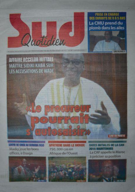 A la Une du Journal Sud Quotidien du mercredi 05 novembre 2014