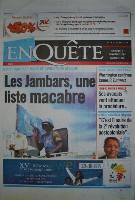 A la Une du Journal EnQuête du mercredi 05 novembre 2014