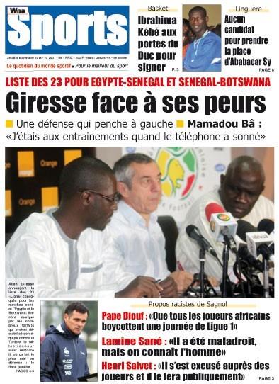 A la Une du Journal Waa Sports du jeudi 06 novembre 2014