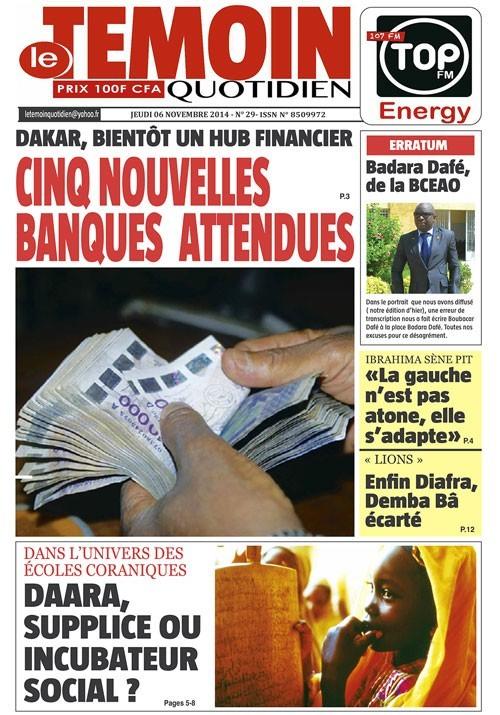 A la Une du Journal Le Témoin du jeudi 06 novembre 2014