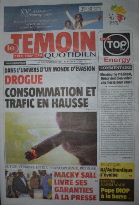 A la Une du Journal Le Témoin du lundi 10 novembre 2014