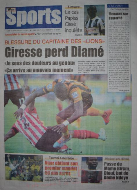 A la Une du Journal Waa Sports du lundi 10 novembre 2014