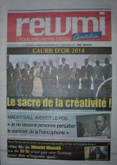 A la Une du Journal Rewmi du lundi 10 novembre 2014