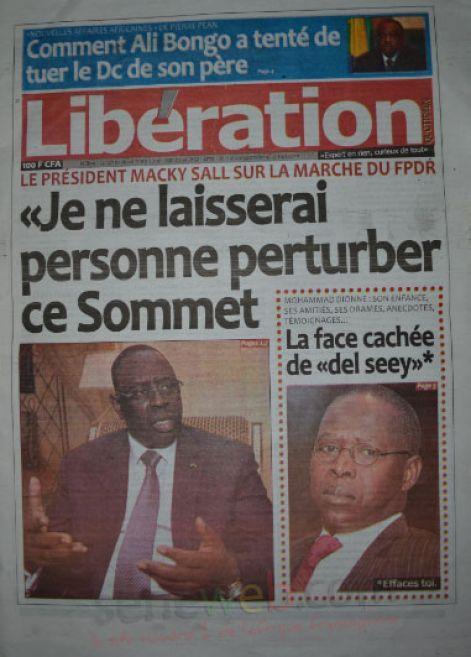 A la Une du Journal Libération du lundi 10 novembre 2014