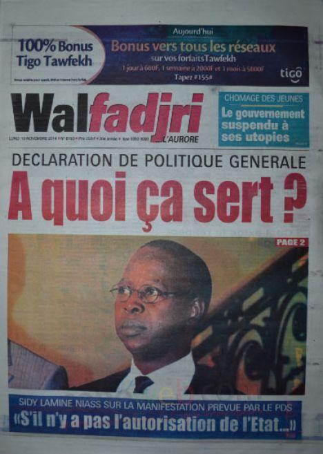 A la Une du Journal Walfadjri du lundi 10 novembre 2014