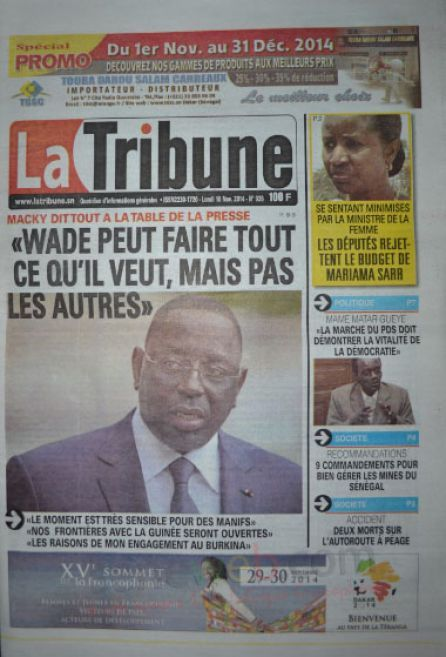 A la Une du Journal La Tribune du lundi 10 novembre 2014