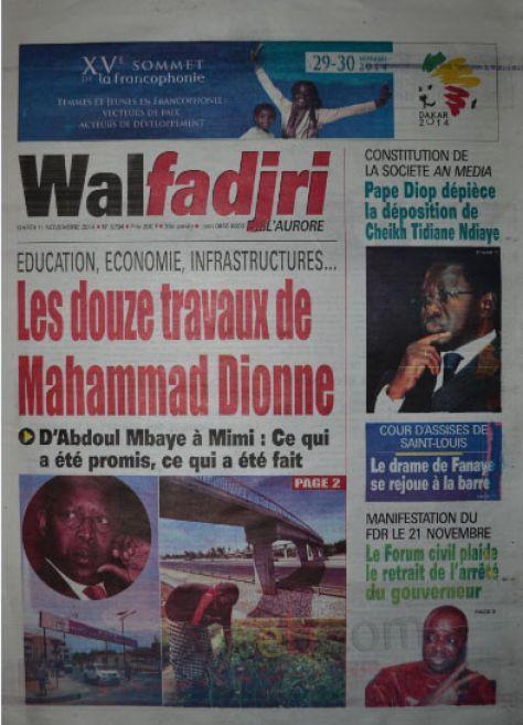 A la Une du Journal Walfadjri du mardi 11 novembre 2014