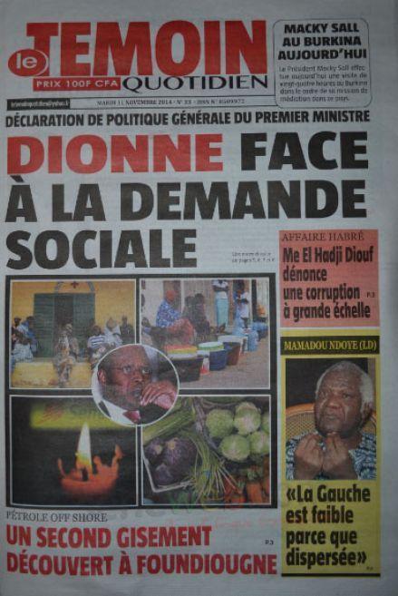 A la Une du Journal Le Témoin du mardi 11 novembre 2014