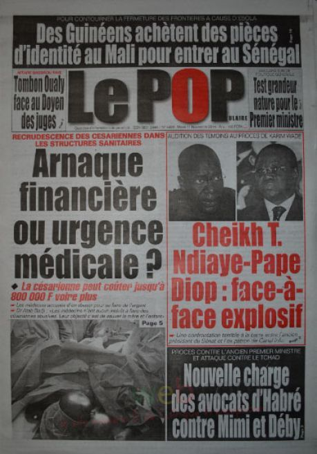 A la Une du Journal Le Populaire du mardi 11 novembre 2014