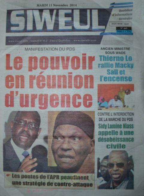 A la Une du Journal Siweul du mardi 11 nombre 2014