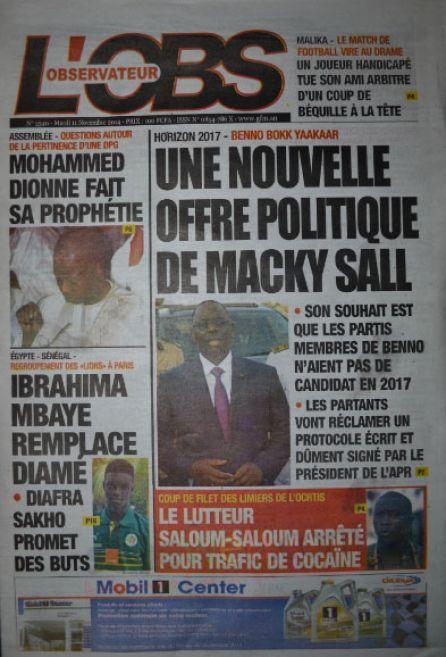 A la Une du Journal L'Observateur du mardi 11 novembre 2014