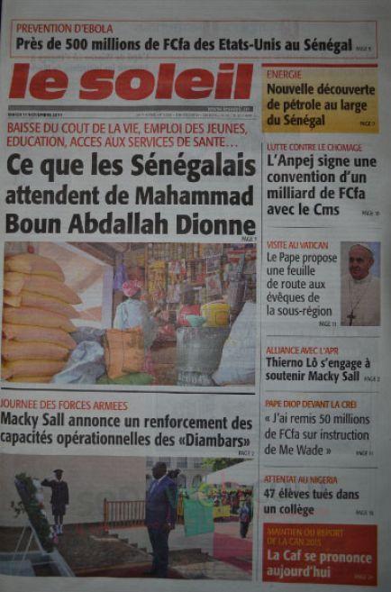 A la Une du Journal Le Soleil du mardi 11 novembre 2014