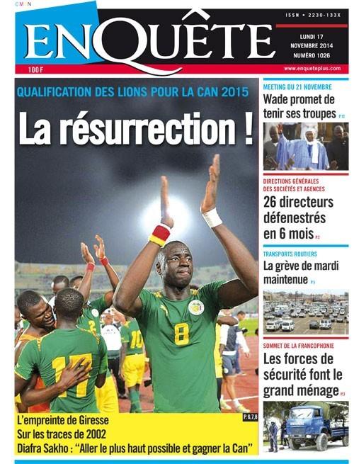Les Principaux Titres De La Presse du lundi 17 Novembre 2014