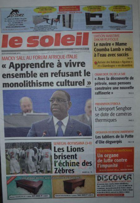 Les Principaux Titres De La Presse du jeudi 20 Novembre 2014
